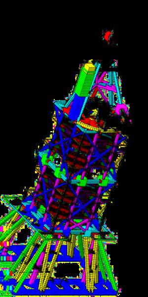 offshore - structure mécano-soudée - analyse statique et dynamique - maillage mixte